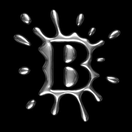 Liquid metal letter B - alphabet symbol isolated on a black background (with path)