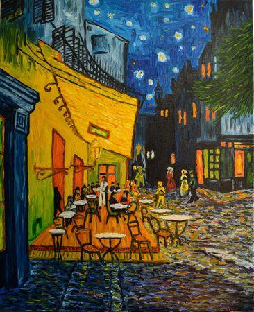 Foto de Painting oil on canvas. Free copy based on the famous painting by Vincent Van Gogh - Cafe Terrace on Forum Square, Arles, 1888. - Imagen libre de derechos