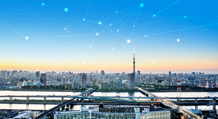 Photo pour Business concept for information, communication , connection technology - panoramic modern city skyline bird eye aerial night view under dramatic glow and beautiful dark blue sky  - image libre de droit