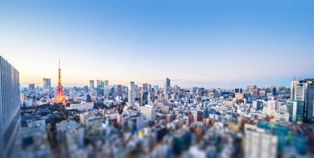 Asia Business concept for real estate and corporate construction - panoramic city view and tokyo tower   in tokyo, Japan with tilt shift, miniature, blur effect