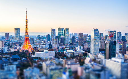 Photo pour Asia Business concept for real estate and corporate construction - panoramic city view and tokyo tower under neon night in tokyo, Japan with tilt shift, miniature, blur effect - image libre de droit