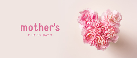 Photo pour Design concept - top view of bunch of beautiful carnation with heart shape on pink background with copy space for mother day banner mockup - image libre de droit