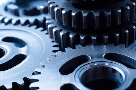 Photo pour Teamwork business concept - perspective view of engine gear wheel, for industrial background - image libre de droit