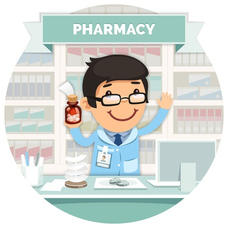 Apothecary behind the Counter at Pharmacy Round Banner