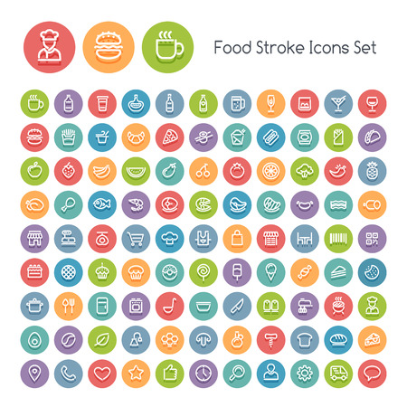 Ilustración de Set of Stroke Round Food Icons. Isolated on White Background. Clipping paths included in additional jpg format. - Imagen libre de derechos
