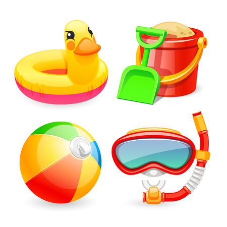 Colorful Beach Toys Icons Set for Your Sea and Child Projects. Isolated on white background. Clipping paths included in JPG file.
