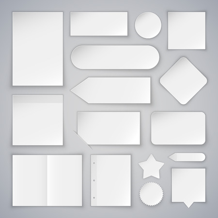 Illustration pour Set of White Paper Sheets Mock Ups and Banners. Clipping paths included in JPG file. - image libre de droit