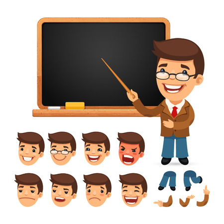 Set of Cartoon Teacher Character with School Blackboard for Your Design or Animation. Isolated on White Background. Clipping paths included in additional jpg format.