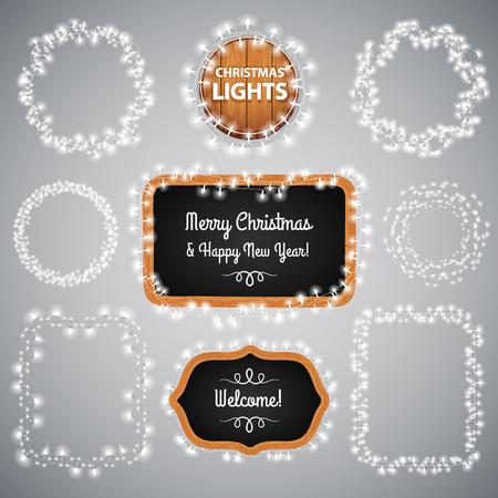 White Christmas Lights on Blackboard for Celebratory Design. Used pattern brushes included.