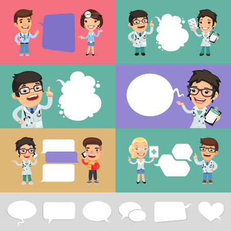 Illustration pour Set of a Speaking Cartoon Doctors. Clipping paths included in jpg format. - image libre de droit