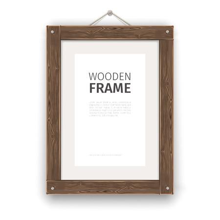 Illustration pour Old wooden rectangle frame light. - image libre de droit