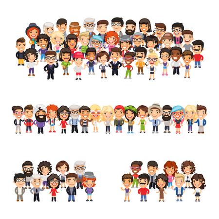 Ilustración de Tree big group of casually dressed flat cartoon people. Isolated on white background. - Imagen libre de derechos