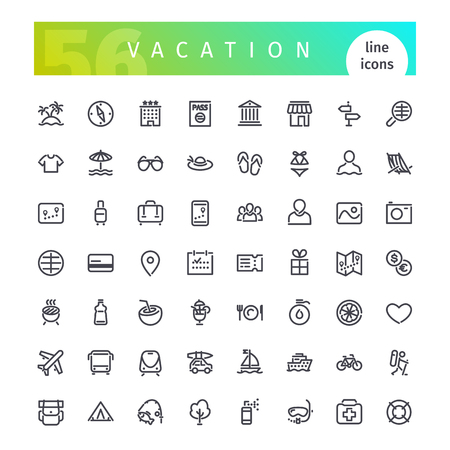Photo pour Set of 56 vacation line icons suitable for gui, web, infographics and apps. Isolated on white background. - image libre de droit