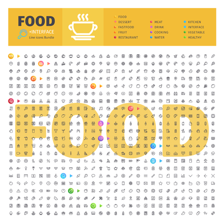 Ilustración de Food Thematic Collection of Line Icons - Imagen libre de derechos