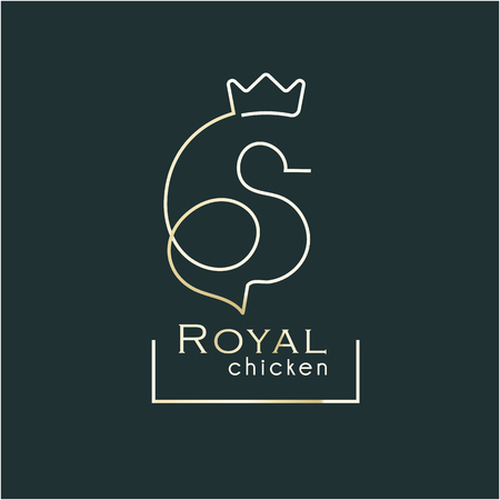 royal chicken award. One stroke line silhouette chicken with crown. Poultry award stamp.