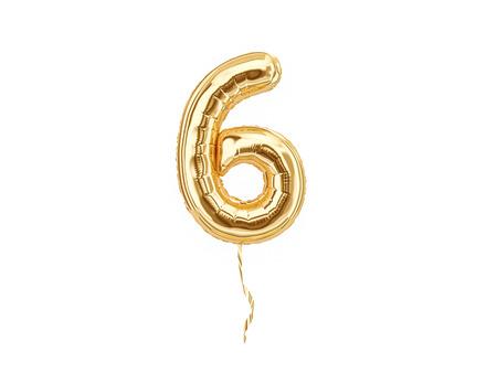 Foto de Numeral 6. Foil balloon number six isolated on white background - Imagen libre de derechos