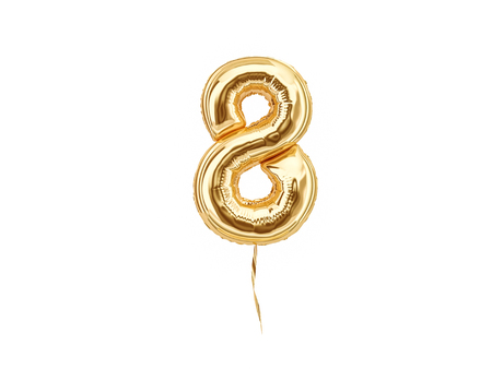 Foto de Numeral 8. Foil balloon number eight isolated on white background - Imagen libre de derechos