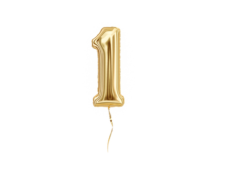 Foto de Numeral 1. Foil balloon number One isolated on white background - Imagen libre de derechos