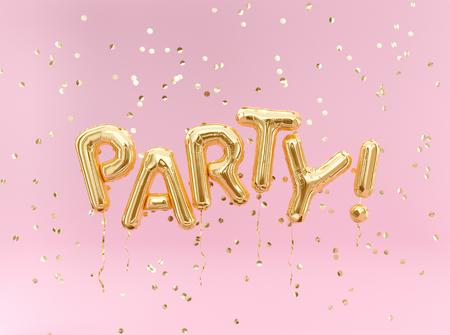 Foto de Flying foil balloon Party letters and golden confetti on pink background. - Imagen libre de derechos