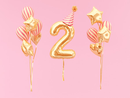 Foto de Celebration balloon with number 2. Two-year anniversary or birthday with party hat and bunch of foil balloons. - Imagen libre de derechos