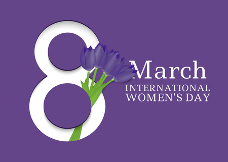 Illustration pour 8 March. International Women's Day. Template for posters or cards with number 8 and tulips. Vector illustration - image libre de droit