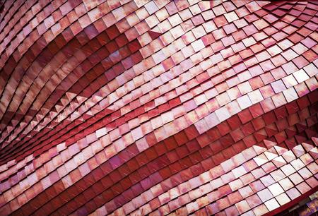 Photo pour Detail of the futuristic red roof of the exhibition pavilion. Architectural element. - image libre de droit