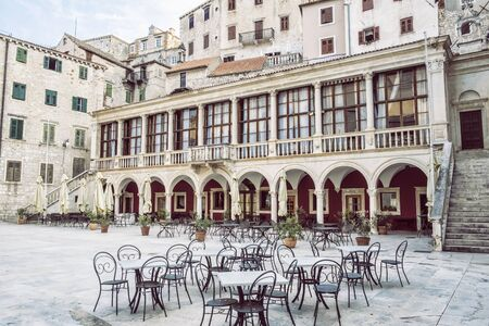 Photo pour Square in the historic center of Sibenik, Croatia. Travel destination. Architectural theme. - image libre de droit