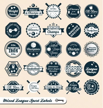 Mixed League Sport Labels and Badges