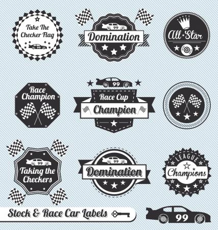 Illustration pour Vector Set: Vintage Racing Car Labels and Icons - image libre de droit