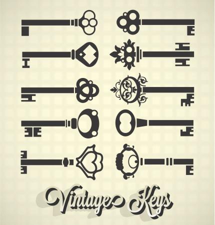 Vector Set: Vintage Key Silhouettes
