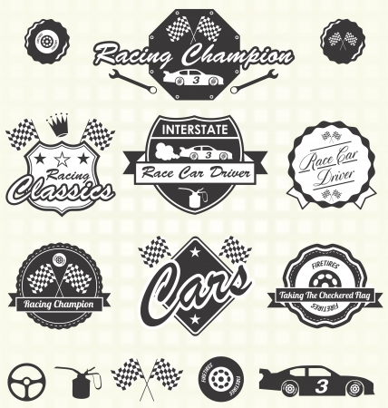 Vector Set: Retro Race Car Driver Champion Labels