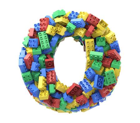 Foto de Toy colorful plastic blocks font on white background. Letter O - Imagen libre de derechos