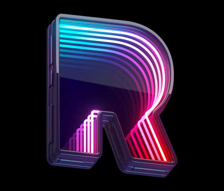 Photo for Infinity light neon font. Letter R. - Royalty Free Image