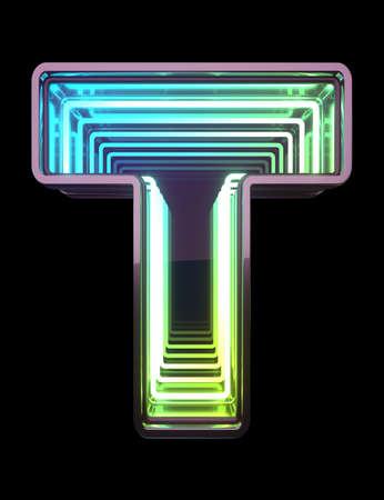 Photo pour Infinity Neon font. Minth light. Letter T. - image libre de droit