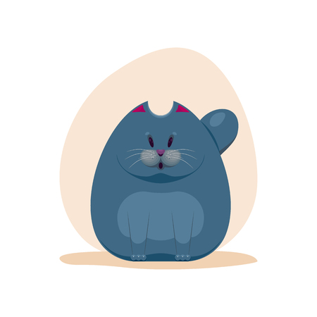 Vector illustration of cute surprised fatty smokey blue cat