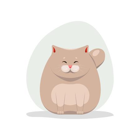 Vector illustration of cute happy fatty cat