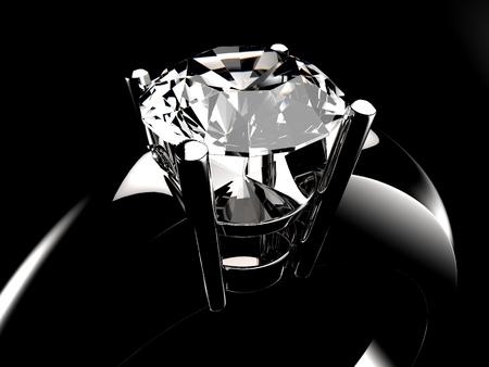 Photo pour Diamond solitaire ring closeup in dark environment - image libre de droit