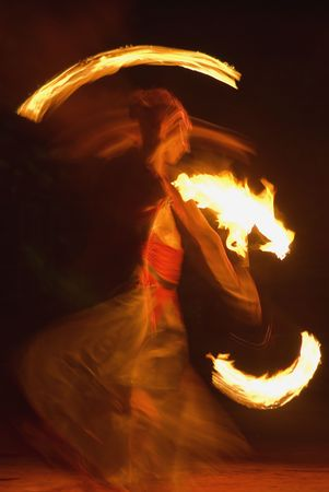 fire-show, woman in action with fire