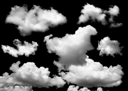 Photo pour Collection of fog, white clouds or haze For designs isolated  on black background - image libre de droit