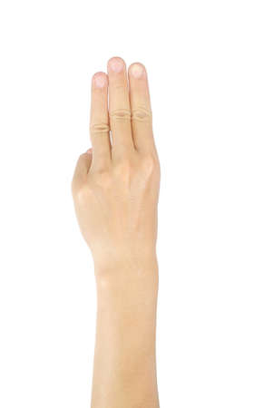 Photo pour Three-finger gestures, men's hands, and symbols Isolated on white background with clipping path. - image libre de droit