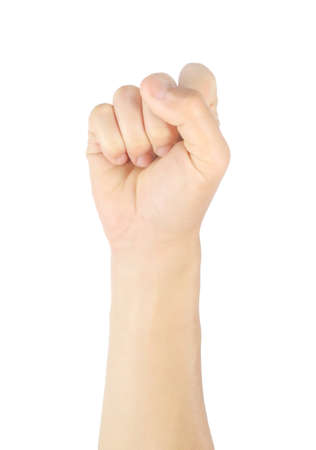 Photo pour Close up men hand sign raise your hand, raise your fist Gestures and symbols Isolated on white background with clipping path. - image libre de droit