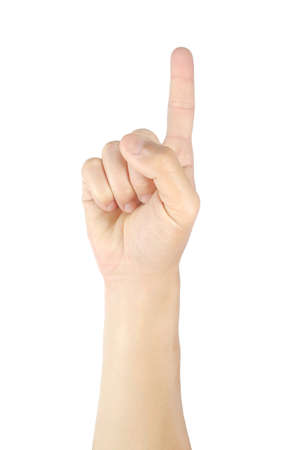 Photo pour Man hands holding one fingers gestures and symbols isolated on white background with clipping path. - image libre de droit
