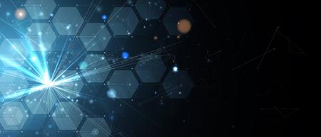 Illustration pour Abstract hexagon background. Technology poligonal design. Digital futuristic minimalism. Vector - image libre de droit