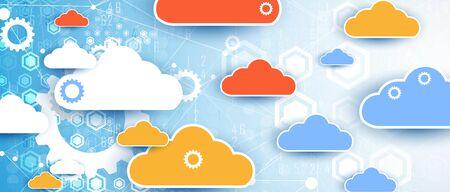 Illustration for modern cloud technology. Integrated digital web concept background - Royalty Free Image
