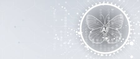 Illustration pour Butterfly concept technology illustration of artificial intelligence. Abstract futuristic background - image libre de droit