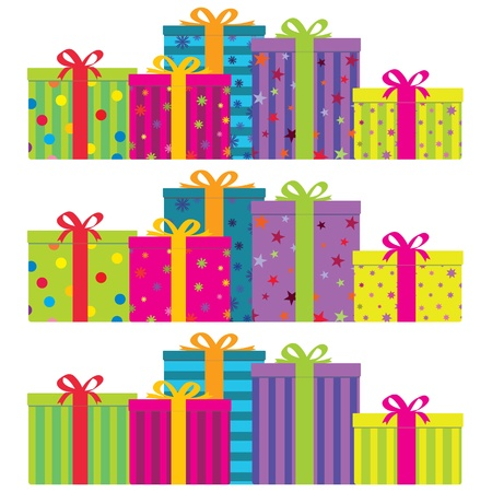colorful gift boxes in 3 decorative styles. No gradients.