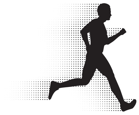 Running Man Silhouette &amp, Halftone Trail. No Gradients.