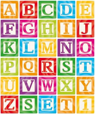 Vector Baby Blocks Set 1 of 3 - Capital Letters Alphabet