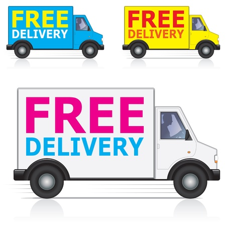 Illustration pour Free delivery lorry/van icons with silhouette of male driver - image libre de droit