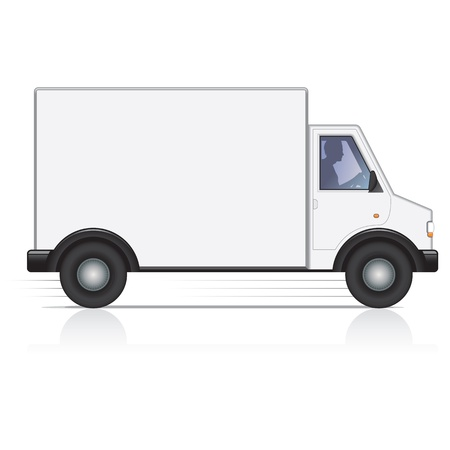 Illustration pour Vector white van and man driver. Isolated. - image libre de droit